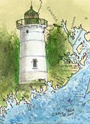 Little River Posters - Little River Lighthouse ME Nautical Chart Map Art Cathy Peek Poster by Cathy Peek