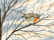 Winter Digital Art Metal Prints - Little robin Metal Print by Veronica Minozzi