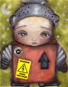 Cardboard Mixed Media Metal Prints - Little Robot Metal Print by  Abril Andrade Griffith