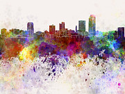 Little Rock Skyline In Watercolor Background Print by Pablo Romero