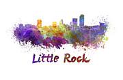Little Rock Skyline In Watercolor Print by Pablo Romero