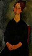 Frontal Metal Prints - Little Servant Girl Metal Print by Amedeo Modigliani