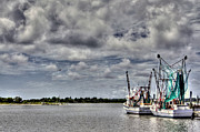 Docked Boats Metal Prints - Little Shrimpers   Metal Print by Benanne Stiens