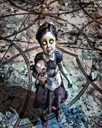 Creepy Digital Art Metal Prints - Little Sister Metal Print by Joe Misrasi