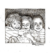 Sisters Drawings - Little Sisters by Rebecca Christine Cardenas