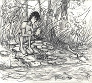 Fishing Creek Drawings Prints - Little Snake Manipulated Print by Leandria Goodman