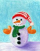 Christmas Card Pastels Prints - Little Snowman Print by Anastasiya Malakhova