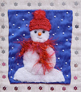 Images Tapestries - Textiles Prints - Little Snowman Print by Katharine Green