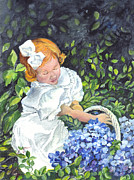 Basket Drawings Posters - Little Sophia and Her Basket of Hydrangeas Poster by Carol Wisniewski