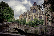 Little Stone Bridge By The Church Print by Joan Carroll