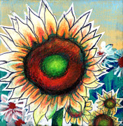 Abstract Expressionist Drawings Prints - Little Sunflower Print by Genevieve Esson