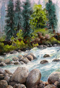 Watercolorist Framed Prints - Little Susitna River Rocks Framed Print by Karen Mattson