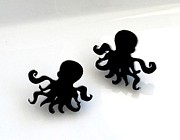 Silhouettes Jewelry - Little sweet black octopus stud earrings by Rony Bank