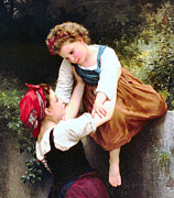 Little Girls Digital Art - Little Thieves Details by William Bouguereau