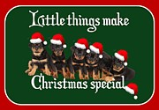 Puppies Digital Art - Little Things Make Christmas Special Rottweiler Greetings  by Tracey Harrington-Simpson