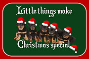 Puppies Digital Art - Little Things Make Christmas Special Vector  by Tracey Harrington-Simpson