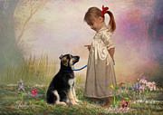 Puppy Mixed Media - Little Trainer by Angelgold Art