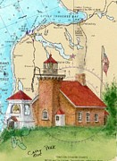 Chart Paintings - Little Traverse Lighthouse MI Nautical Chart Map Art Cathy Peek by Cathy Peek