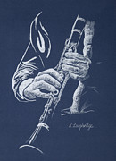 Musical Pastels Posters - Little Trumpet Clarinet Poster by Karen  Loughridge KLArt