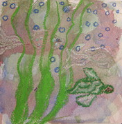 Green Sea Turtle Mixed Media - Little Turtle Finding His Way by Claudia Smaletz