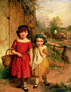 Little Girl Metal Prints - Little Villagers Metal Print by George Smith