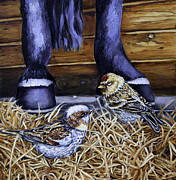 Horse Stable Painting Posters - Little Visitors Poster by Enzie Shahmiri