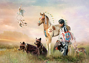  Paint Horse Posters - Little Warriors Poster by Trudi Simmonds