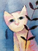 Watercolor Cat Paintings - Little white Cat by Lutz Baar