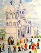 Church Mixed Media - Little White Church Ghazanchetsots Cathedral Karabagh Armenia by Helena Bebirian