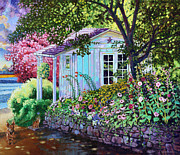 Shed Painting Prints - Little White Garden Shed Print by John Lautermilch
