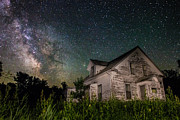Starry Night Art - Little White House  by Aaron J Groen