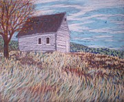 Fruit Tree Art Originals - Little White House on the Hill by Suzanne McKay