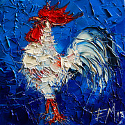 Emona Paintings - Little White Rooster by EMONA Art