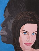 Aerosmith Paintings - Liv Tyler With Silhouet Steven Tyler by Jeepee Aero