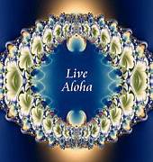 Gold Necklace Digital Art Prints - Live Aloha Print by Renee Trenholm
