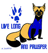 Ferret Digital Art - Live Long And Pawsper by Brian Dearth