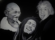 Albert Einstein Paintings - Live Love Laugh by Brian Broadway