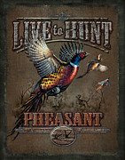 Hunt Metal Prints - Live To Hunt Pheasants Metal Print by JQ Licensing