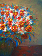 Robie Benve Prints - Lively Flowers in Vase Print by Robie Benve