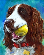 Dog Artist Painting Prints - Liver English Springer Spaniel with Tennis Ball Print by Dottie Dracos