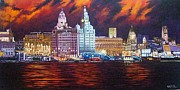 Landscape Posters Drawings Posters - Liverpool by night Poster by Stephen Rea
