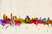 Urban Watercolour Prints - Liverpool England Skyline Print by Michael Tompsett
