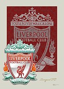 Liverpool Football Prints - Liverpool F.C. Logo and 3D Badge Print by Serge Averbukh