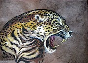 Amate Bark Paper Prints - Livid Leopard Print by Anne Shoemaker-Magdaleno