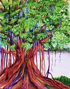 Tree Roots Painting Posters - Living Banyan Tree Poster by Jane  Ricker