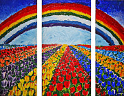 Rainbow Row Paintings - Living in Paradise by Shakhenabat Kasana