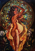 Portrait Paintings - Living In the Body Milk and Honey by Amanda Greavette