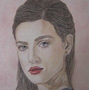Merlin Drawings Posters - Living Magic - Morgana Poster by Malinda  Prudhomme