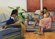Daughters Painting Prints - Living Room Lounge Print by Colin Bootman