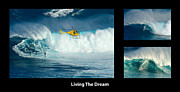 Big Wave Surfing Posters - Living The Dream With Caption Poster by Bob Christopher